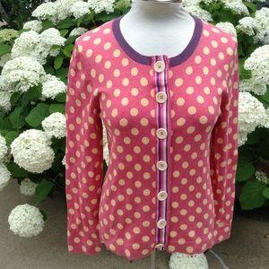 pink polkadot BODEN cotton cardigan S M (A10)